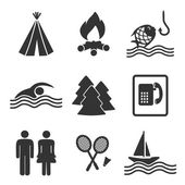 Vector camping icons set — Stock Vector