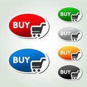Vector shopping cart item, trolley, oval button — Stock Vector