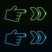 Vector web neon pointer - arrow, hand — Stock Vector