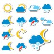 Vector set of color weather stickers  — Stock Vector