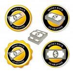 Vector money back guarantee icons, circular stickers with dollar — Stock Vector #33334273