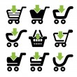 Vector black simple shopping cart — Stock Vector