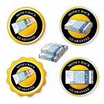 Vector money back guarantee icons, circular stickers with euro — Stock Vector #33334613