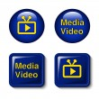 Vector video media icons for tv screen — Stock Vector