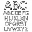 Vector black white rope font alphabet — Stock Vector