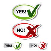 Vector oval yes no button — Stock Vector