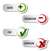 Vettore aggiungi rimuovi e voce di errore ok — Vettoriale Stock