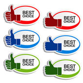 Vector best choice oval stickers with gesture hand — Stock Vector