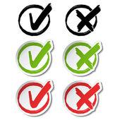 Vector circular check mark symbols — Stock Vector