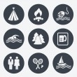 Vector camping icons - circular buttons, set 2 — Stock Vector