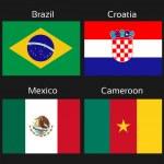 Постер, плакат: Vector flags football Brazil group A Brazil Croatia Mexico Cameroon