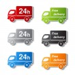 Vector truck symbols - delivery within 24 hours and free delivery — Stock Vector