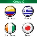 Vector flags - football Brazil, group C - Colombia, Greece, Ivory Coast, Japan — Stock Vector