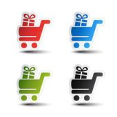 Vector simple shopping cart, trolley with gift, item, button — Vector de stock