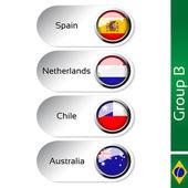 Vector flags - football Brazil, group B - Spain, Netherlands, Chile, Australia — Stock Vector
