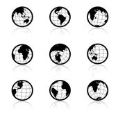 Vector globe symbols - icons of world — Stock Vector