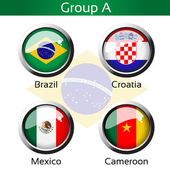 Vector flags - football Brazil, group A - Brazil, Croatia, Mexico, Cameroon — Stock Vector