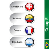 Vector flags - football Brazil, group E - Switzerland, Ecuador, France, Honduras — Stock Vector