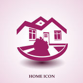 Vector symbol of home, house icon, realty silhouette, real estate modern logo — Stock Vector