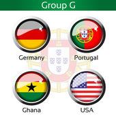 Vector flags - football Brazil, group G - Germany, Portugal, Ghana, USA — Stock Vector