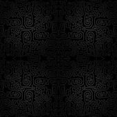 Vector black seamless ornament background - wallpaper with modern scrawl, labyrinth — Stock Vector