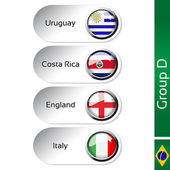 Vector flags - football Brazil, group D - Uruguay, Costa Rica, England, Italy — Stock Vector
