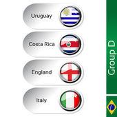 Vector flags - football Brazil, group D - Uruguay, Costa Rica, England, Italy — Stock Vector