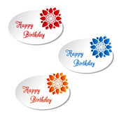 Vector white labels with flower - Happy Birthday, announcement card — Stock Vector
