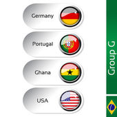 Vector flags - football Brazil, group G - Germany, Portugal, Ghana, USA — Stock Vector