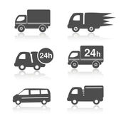 Vector truck symbols with shadow, delivery within 24 hours, car icons — Stock Vector