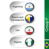 Vector flags - football Brazil, group F - Argentina, Bosnia and Herzegovina, Iran, Nigeria — Stock Vector