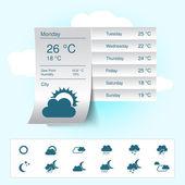 Vector weather forecast, widget, banner and symbols — Stock Vector