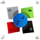 Vektor web-layout, vorlagen, buttons, elemente, banner für info, infografiken elemente — Stockvektor