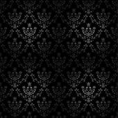 Vector black seamless ornament background - wallpaper with flower, crown, star, leaf — Stock Vector
