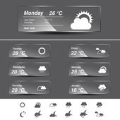 Vector weather forecast, widget, glass banners and symbols — Stock Vector