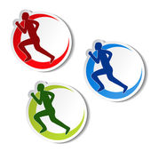 Vector circular stickers of fitness - runner silhouette — Stock Vector