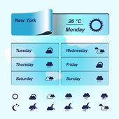 Vector weather forecast, widget, banner and symbols — Stock Vector