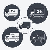 Vector truck symbols - delivery within 24 hours and free delivery — ストックベクタ