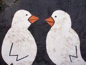 Graffiti detail birds — Stock Photo
