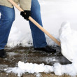 Stock Photo: Womis shovelling snow