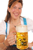 Woman with a Bavarian Dirndl and a beer stein — Stock Photo