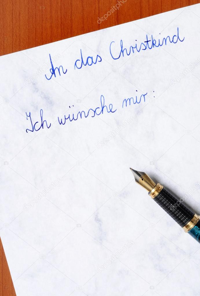 German wish list for Christmas with fountain pen — Stock Photo #12114127
