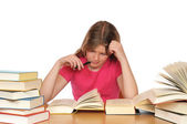 Girl with books learning — Stock Photo
