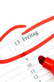 Calender with marked Friday 13th — Stock Photo