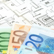 Stock Photo: Blueprint and money