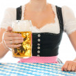 Stock Photo: Young womin BavariDirndl is holding stein with one liter beer