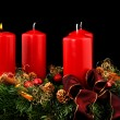Advent wreath with red candles — 图库照片