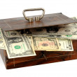Cash box with money — Stock Photo