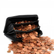 One Euro-cent coins in a large wallet — Stock Photo