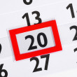 Stock Photo: Calender with marked 20th